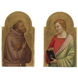 Artwork by Bernardo Daddi, ST. JOHN THE EVANGELIST, ST. FRANCIS, Made of tempera on panel, gold ground