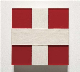 Artwork by Michael Jenkins, Andrés Serrano, Untitled, Made of Plexiglas in red with twill tape, mounted on wooden strainers