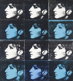 Artwork by Deborah Kass, 12 Barbra's (Black, Turquoise, White) (Jewish Jackie Series), Made of synthetic polymer and silkscreen ink on canvas