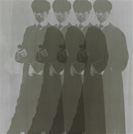 Artwork by Deborah Kass, Quadruple Silver Yentls (My Elvis), Made of synthetic polymer and silkscreen ink on canvas