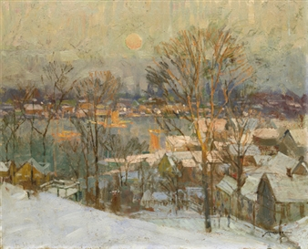 Gloucester Harbor, Winter By Frederick J. Mulhaupt