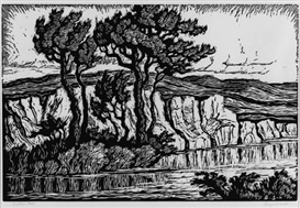 Artwork by Birger Sandzén, Sunshine Creek; Blue Valley Farm; Brook with Cottonwoods; The Silent Stream; Smoky River; and Kansas Farm