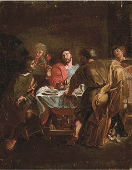 charles lebrun the supper at emmaus oil on canvas. Black Bedroom Furniture Sets. Home Design Ideas