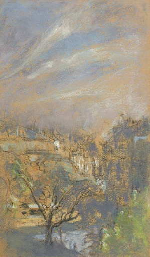 Artwork by Édouard Vuillard, Lumière du matin, place Vintimille, Made of pastel and charcoal on beige paper