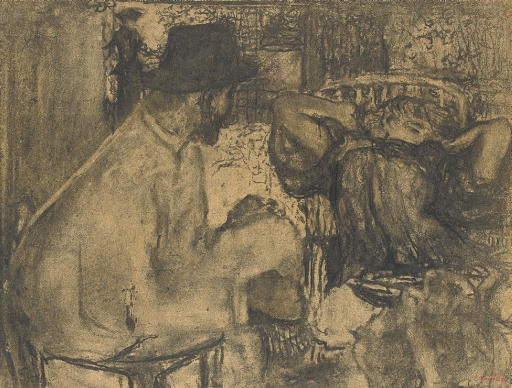 Artwork by Édouard Vuillard, L'heure du thé, Made of charcoal on board