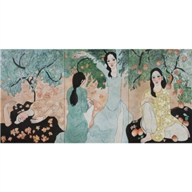 Artwork by Nguyen Trung, VIETNAMESE LADIES, Made of lacquer on panel