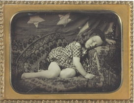 Artwork by Marcus Aurelius Root, Albert Pritchard Root Asleep by the Flag, c. 1850, Made of quarter-plate daguerreotype