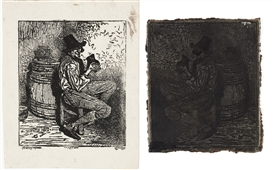 Artwork by Alphonse-Louis Poitevin, Man drinking (Reproduction of an engraving), 1855, Made of photolithograph
