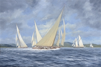 Candida reaching to windward having rounded the turning mark By John J. Holmes