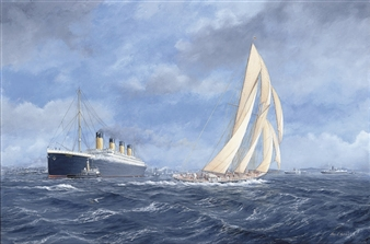 R.M.S. Titanic off Southampton, 10 April 1912, with Rainbow off her port bow By John J. Holmes