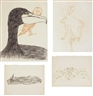 Merce Cunningham, a: Untitled (Flower and Beetle), b: Untitled (Rabbit, Owl, and Bird)