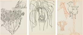 Artwork by Merce Cunningham, Untitled (Rabbit, Onions, Animals), Made of ink on paper