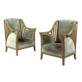 Artwork by Henry van de Velde, A Pair of Armchairs, Made of walnut and velvet