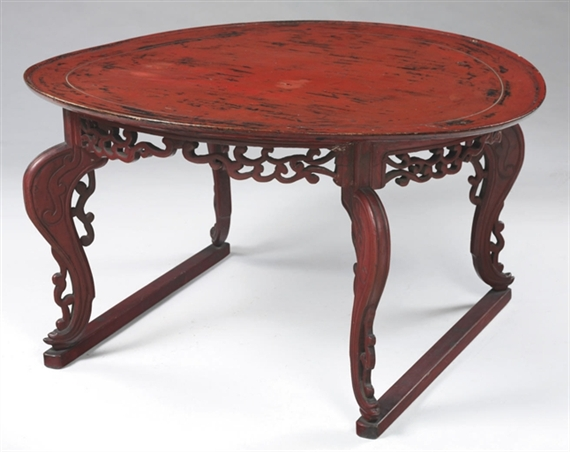 Artwork By Joseon Dynasty, 20th Century, A Large Red Lacquer Table, Made Of