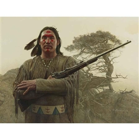 Artwork by James Bama, SOUTHERN CHEYENNE WARRIOR, Made of oil on board