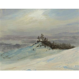 Artwork by Frederic Edwin Church, WINTER ON THE HUDSON RIVER NEAR CATSKILL, NEW YORK, Made of oil on paper