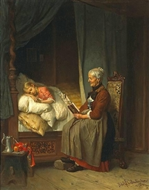 Artwork by Adolf Eberle, Grandmother's bedtime story, Made of oil on canvas