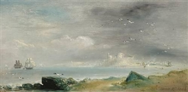 "Artwork by David Octavius Hill, ""Holy Island"", Made of oil on canvas laid on panel"