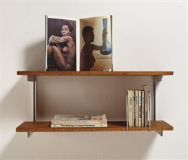 Artwork by Carol Bove, At Home In The Universe, Made of Two wooden shelves with metal brackets, 10 found books, stainless steel book clips and bookends