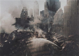 Artwork by Christoph Draeger, Ground Zero / Sept 16 2001, Made of Acrylic paint-jet print on 8000 piece jigsaw puzzle