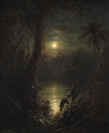 Artwork by Frederic Edwin Church, Twilight in the Tropics (A tropical moonlight), Made of 30 x 25 1/4in