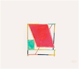 Artwork by Craig Kauffman, Untitled, 1972; Untitled, 1975 (Study for Sunroof, 1976), Made of ink and watercolor on paper; ink, watercolor and collage on paper