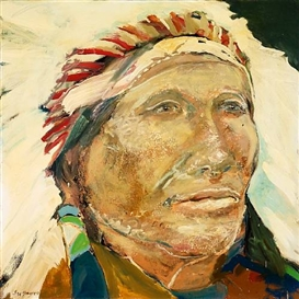 Artwork by Ira Yeager, Native American with Headdress, Made of oil on canvas