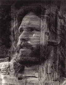 Artwork by Edmund Teske, Composite: Jim Morrison of the Doors, with Cripple Creek, Colorado, Made of 9 x 7 3/8in