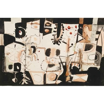 ABSTRACT STUDIES (A PAIR) By Jack Shadbolt ,1957