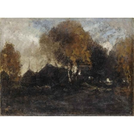 Artwork by László Paál, LANDSCAPE, Made of oil on canvas