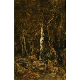 Artwork by László Paál, FOREST LANDSCAPE WITH FIGURE, Made of oil on panel