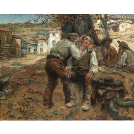 Artwork by José Malhoa, O BARBEIRO DA ALDEIA (A CLOSE SHAVE), Made of oil on panel