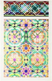 Artwork by Joyce Kozloff, Pictures and Borders III, Made of Screenprint in colors, on Arches paper, with full margins