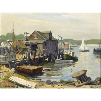 "Arnold""s Wharf, Gloucester By Jacob I. Greenleaf"