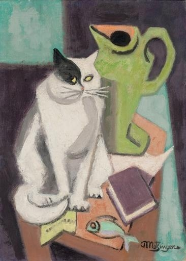 Artwork by Jean Metzinger, Chat et poisson, Made of oil on canvas