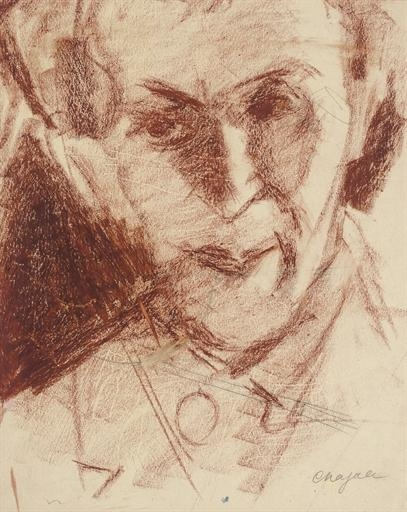 Artwork by Marc Chagall, Autoportrait, Made of wax crayon and pencil on paper