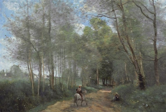 Artwork by Jean Baptiste Camille Corot, Ville d'Avray - Le Cavalier à la entrée du bois, Made of oil on canvas