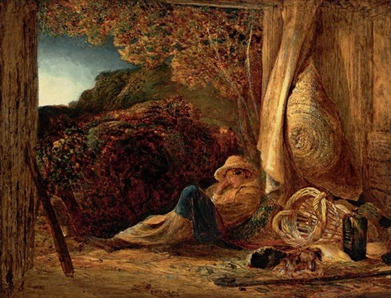 Artwork by Samuel Palmer, The Sleeping Shepherd, Made of chalk, tempera and oil, with scratching out on paper, laid down on board, varnished