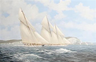 'Britannia and Cicely racing in the Solent off the Needles' By John J. Holmes