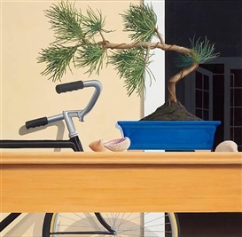 Artwork by Tom McKinley, Untitled (Bonsai and Bicycle), Made of oil on fiberboard