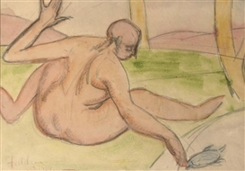 Artwork by Lorser Feitelson, A nude fishing, Made of pencil and watercolour on paper