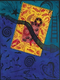 Artwork by Betye Saar, Return to Dreamtime, Made of Color intaglio and screenprint