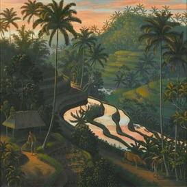 Artwork by I Gusti Agung Wiranata, Landscape Bali, Made of Oil on Canvas
