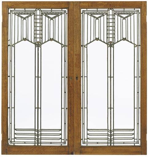 Frank Lloyd Wright A Pair Of Leaded Glass Windows From The B