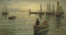 Artwork by Hamilton Macallum, Bringing in the catch, Made of oil on canvas