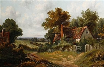 Landscape with cottages and fields beyond By Octavius T. Clark