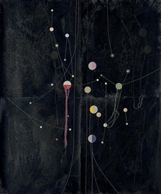 Artwork by Dirk Stewen, Untitled, Made of ink, paper collage, confetti and thread on photopaper