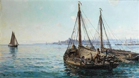 Artwork by Hamilton Macallum, Herring boats off Aberdeen, Made of oil on canvas