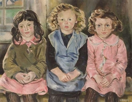 Artwork by Hilda Roberts, THREE ACHILL GIRLS, Made of oil on canvas