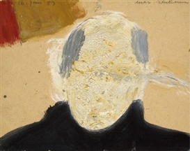 Artwork by Max Neumann, AUTOPORTRAIT, Made of Mixed media on paper mounted on cardboard
